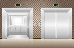 Two elevator doors open and closed Stock Photo
