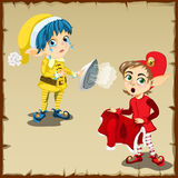 Two elf character for household chores Royalty Free Stock Photography
