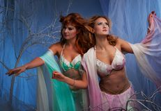 Two elf women in motion Royalty Free Stock Photography