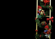 Two elfs on ladder with gifts. Background greeting card Stock Photo