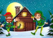 Two elves at the wood cabin stock illustration