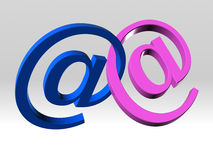 Two email symbol linked Stock Photography
