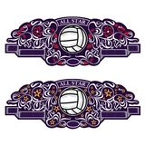 Two emblems with volleyball ball in center of violet banner with silver pattern. Sport logo for any team or competition all star i stock illustration