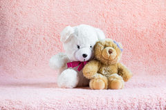 Two embracing teddy bear toys - girl and boy. Love concept Stock Photography
