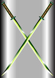 Two emerald crossed swords. Two crossed swords similar to the katana are isolated on the metal background Stock Photo