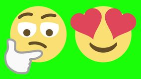Two Emoticons for Skeptical and Love Emotions. Two custom looping animated social media emoticons illustrating the skeptical and love emotions stock video
