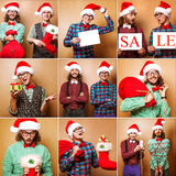 Two emotional Santa Claus dressed in clothes hipster standing ne Royalty Free Stock Images
