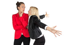Two emotionally speaking businesswoman Royalty Free Stock Photos