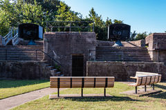 Two Emplacements for Rapid-Fire Guns at Fort Monroe. Two Endicott-era, 3-inch, rapid-fire guns at Fort Monroe in Hampton, Virginia.  These two guns were Royalty Free Stock Photo