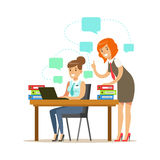 Two employee women working on a project. Colorful cartoon character vector Illustration vector illustration