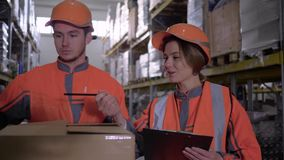 Two employees in workwear and helmets discussing work in warehouse near boxes stock footage