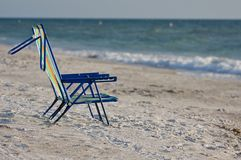 Two empty beach chairs. Stock Image