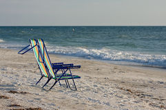 Two empty beach chairs. Stock Images