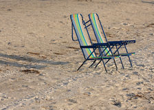 Two empty beach chairs. Stock Photos