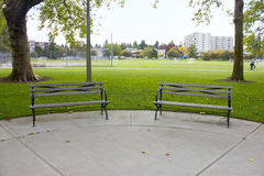 Two empty benches Royalty Free Stock Image