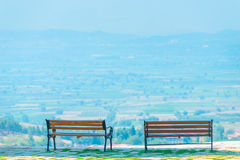 Two empty benches and beautiful views Royalty Free Stock Images