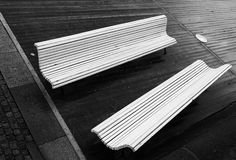 Two empty benches Royalty Free Stock Photo