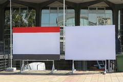 Billboards. Two Empty Billboards in Front of Exibiton Hall stock photography