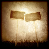 Two empty billboards sepia tone Royalty Free Stock Images