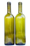 Two empty bottles. Of green glass for wine on white background Stock Images