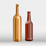 Two empty bottles of wine and beer isolated on transparent Stock Photos