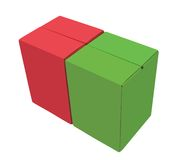 Two empty cardboard boxes in red & green color Stock Images