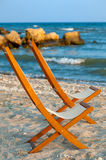 Two empty chairs on the beach Royalty Free Stock Photo