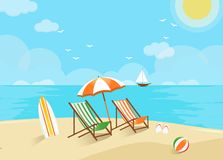 Beach scene, welcome to holiday stock illustration