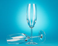 Two empty champagne glasses Stock Photography