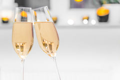 Two empty champagne glasses with white background Stock Photos