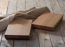 Two empty  chopping boards for dishes Royalty Free Stock Images