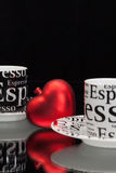 Two empty coffee cups and red heart Stock Photo