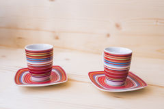Two empty coffee mugs and saucers Royalty Free Stock Images