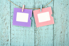 Two empty colorful photo frames Stock Photography