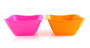 Two empty colorful snack bowls Royalty Free Stock Images
