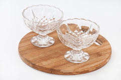 Two empty crystal bowls Stock Photo