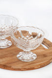 Two empty crystal bowls Stock Images