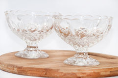 Two empty crystal bowls Royalty Free Stock Image