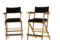Two empty director's chair over white background royalty free stock photos