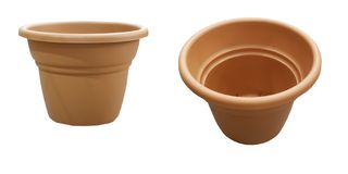 Two empty flower pots Royalty Free Stock Images