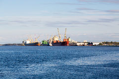 Two Empty Freighters at Dock Stock Photography