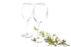 Two empty glasses with a branch of cherry blossoms Stock Photography