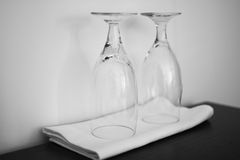Two empty glasses, turned upside down Stock Photography