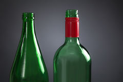 Two empty green bottles Royalty Free Stock Photos