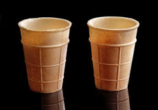 Two empty ice cream waffle cones Royalty Free Stock Photography