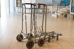 Airport luggage carts Royalty Free Stock Image