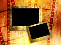 Two empty photo frames on film strip background. Raster artwork Stock Images