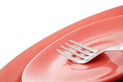 Two Empty Pink Plates With Fork Royalty Free Stock Photos