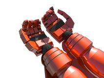 Two empty red hands of robot Stock Image