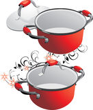 Two empty red pans Royalty Free Stock Photography